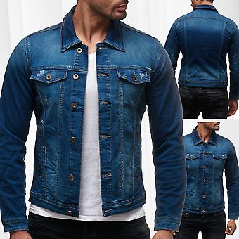 Men's jeans jacket destroyed Kurz stone washed used jacket