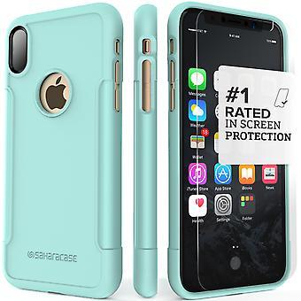 SaharaCase caso del iPhone X Aqua, clásico paquete de Kit de protección con vidrio templado de ZeroDamage