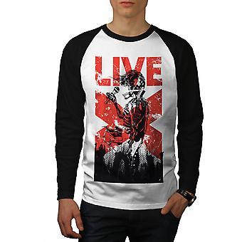 Cráneo vivo canta Fantasy hombres blanco camiseta de (mangas negro) béisbol LS | Wellcoda