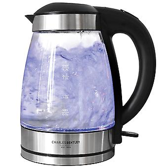 Charles Bentley 1.7 Litre LED Illuminated Glass Electric Kettle 360 Cordless