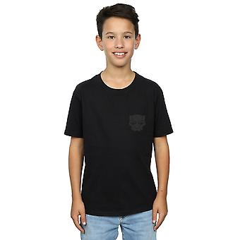 Marvel Boys Black Panther Black On Black Pocket Print T-Shirt