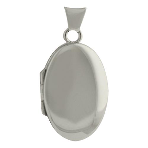 Oro Bianco 9ct 22x15mm mano pianura Locket ovale