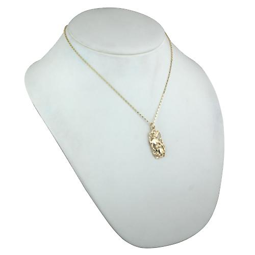 9ct Gold 33x17mm Aquarius Zodiac Pendant with a belcher Chain 18 inches