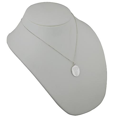 Silver 25x20mm oval medical alarm Disc with a curb Chain 20 inches
