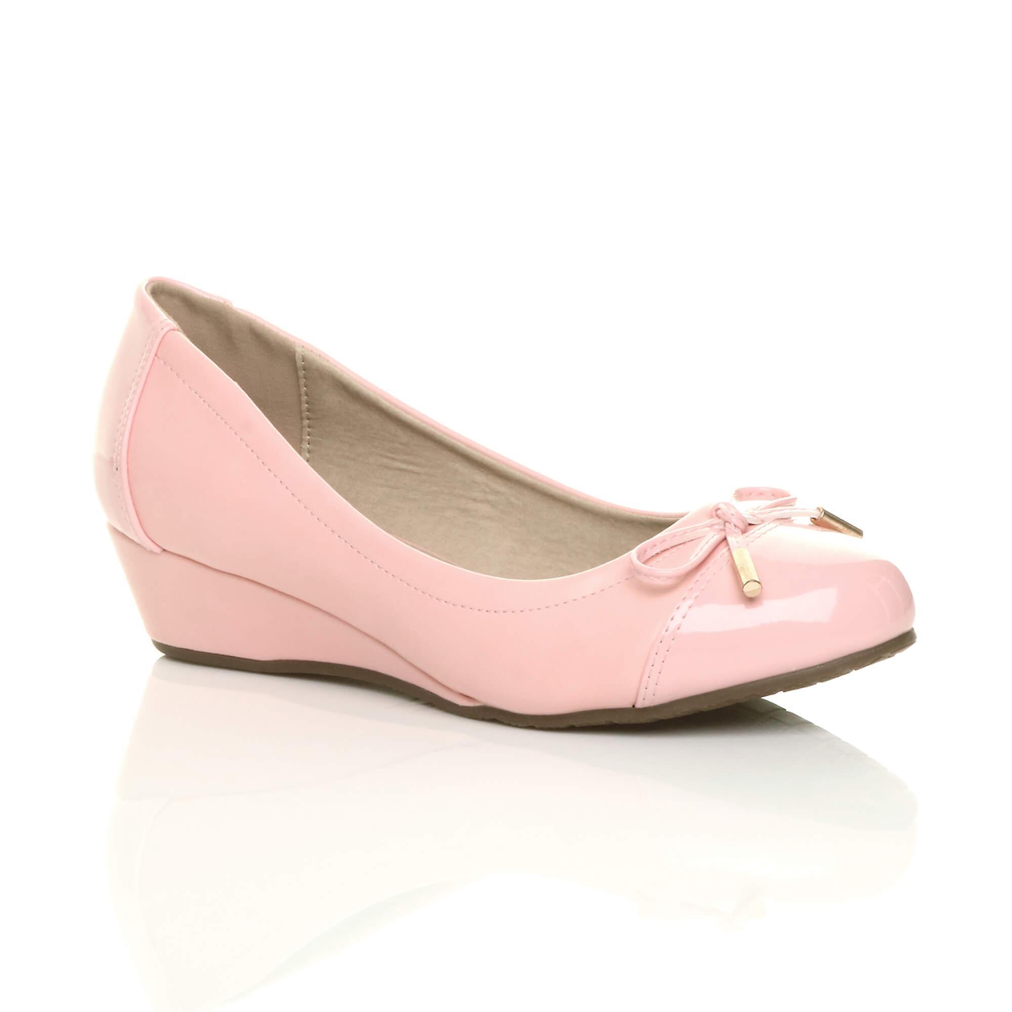 Ajvani womens dolly low mid heel wedge bow smart work dolly womens ballerina court shoes:Online:Men's/Women's 03b19b