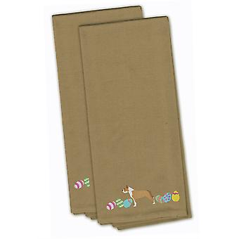 Staffordshire Bull Terrier Easter Tan Embroidered Kitchen Towel Set of 2
