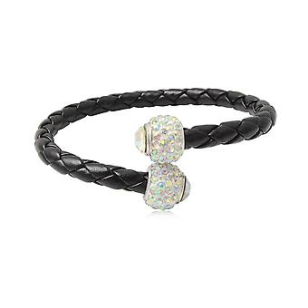 Bracelet Bangle black leather, pearls in Crystal white and Silver 925