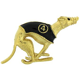 Brooches Store Grey Hound Racing Dog Brooch Number 4Gold Plated  and  Black Enamel