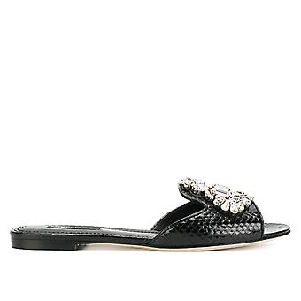 Dolce E Gabbana women's CQ0130AI34780999 black leather sandals