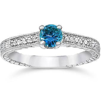 1 / 2ct blå & hvid diamant Vintage forlovelsesring 14K hvidguld