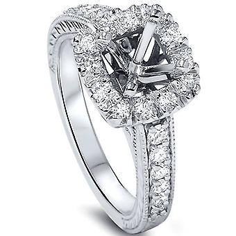 1/2ct Cushion Cut Halo Diamond Vintage Engagement Ring Setting