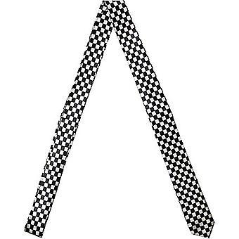 Slanke satijn tie - SCHACK zwart / zilver