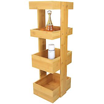 Woodquail 4 Tier Bathroom Caddy Storage, Made of Waterproof Bamboo