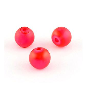 Strand 100+ Red Glass 8mm Frosted Plain Round Beads Y05550