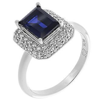 Orphelia Silber 925 Ring Quadrat Saphir Zirkon ZR-7237/SA