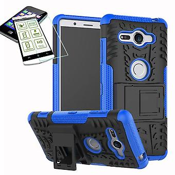 Hybrid case 2 piece blue for Sony Xperia XZ2 compact / mini bag case + tempered glass