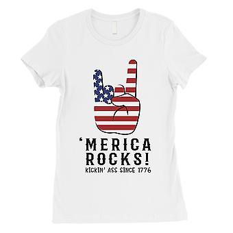 Merica Felsen Womens weißes T-Shirt süß 4. Juli Shirt für Frauen