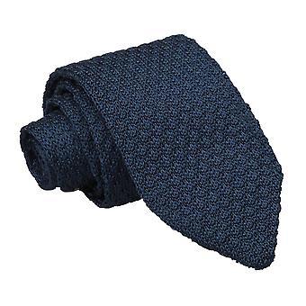 Blu navy granatina in maglia di seta cravatta Slim