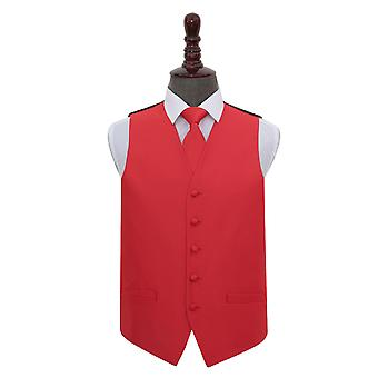 Red Solid Check Wedding Waistcoat & Tie Set