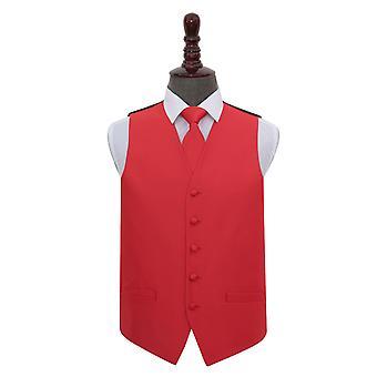 Verificación sólido rojo boda chaleco y corbata conjunto