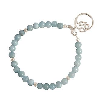 GEMSHINE ladies bracelet made of 925 Silver with YOGA Lotus Flower and aquamarines of outstanding quality and color. Made in Madrid, Spain. Delivered in the elegant jewelry with gift box.