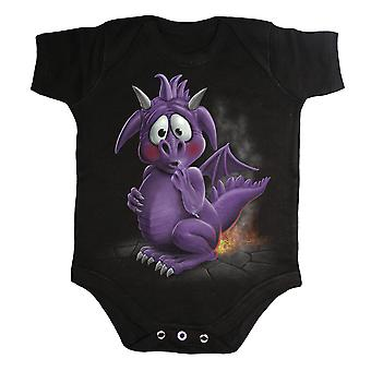Spiral Direct Gothic DRAGON RELIEF - Baby Sleepsuit Black|Dragon|Flames|Cute