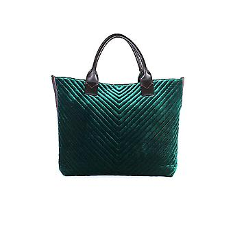 PINKO GREEN VELVET ARARAT LARGE SHOPPER
