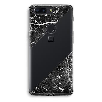 OnePlus 5T Transparent Case (Soft) - Black marble