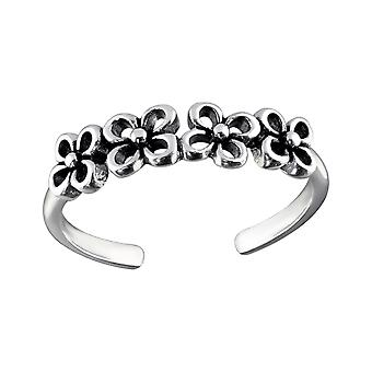 Flowers - 925 Sterling Silver Toe Rings - W31259x