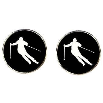 Bassin et boutons de manchettes skieur brun - noir/blanc