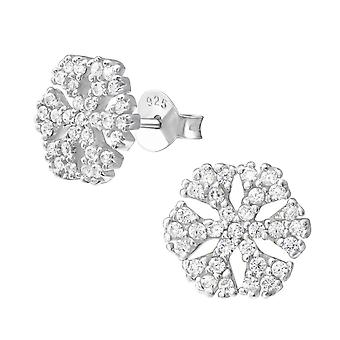Snowflake - 925 Sterling Silver Cubic Zirconia Ear Studs - W21535X