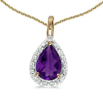 14k Yellow Gold Pear Amethyst Pendant with 18