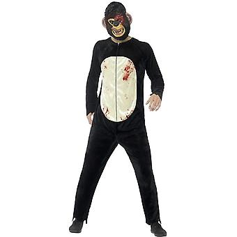 Deluxe Zombie Chimp Costume, Black, with Bodysuit & EVA Mask