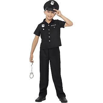 Traje del poli de Nueva York, negro, con Top, pantalones y sombrero