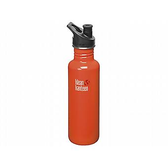 Klean Kanteen Classic 800ml Water Bottle with Sport Cap (Flame Orange)