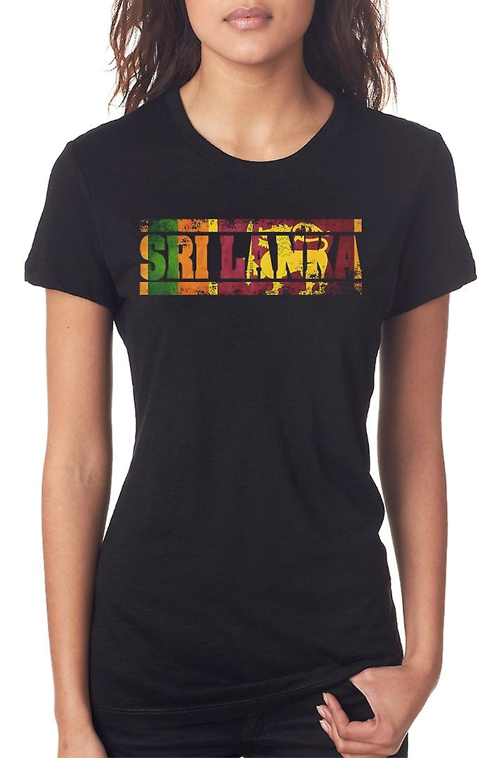 Sri Lanka Flag - Words Ladies T Shirt