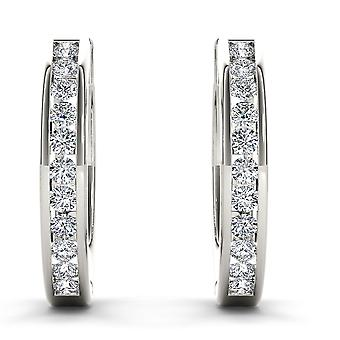 IGI Certified Solid 10k White Gold 0.33 Ct Natural Diamond Hoop Earrings