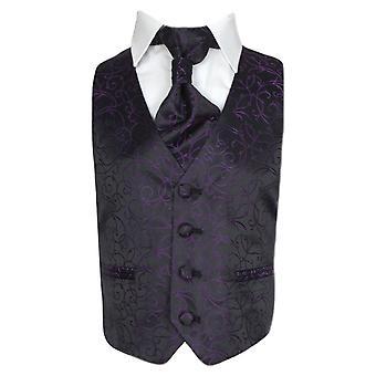 Boys Cravat & Waistcoat - Purple
