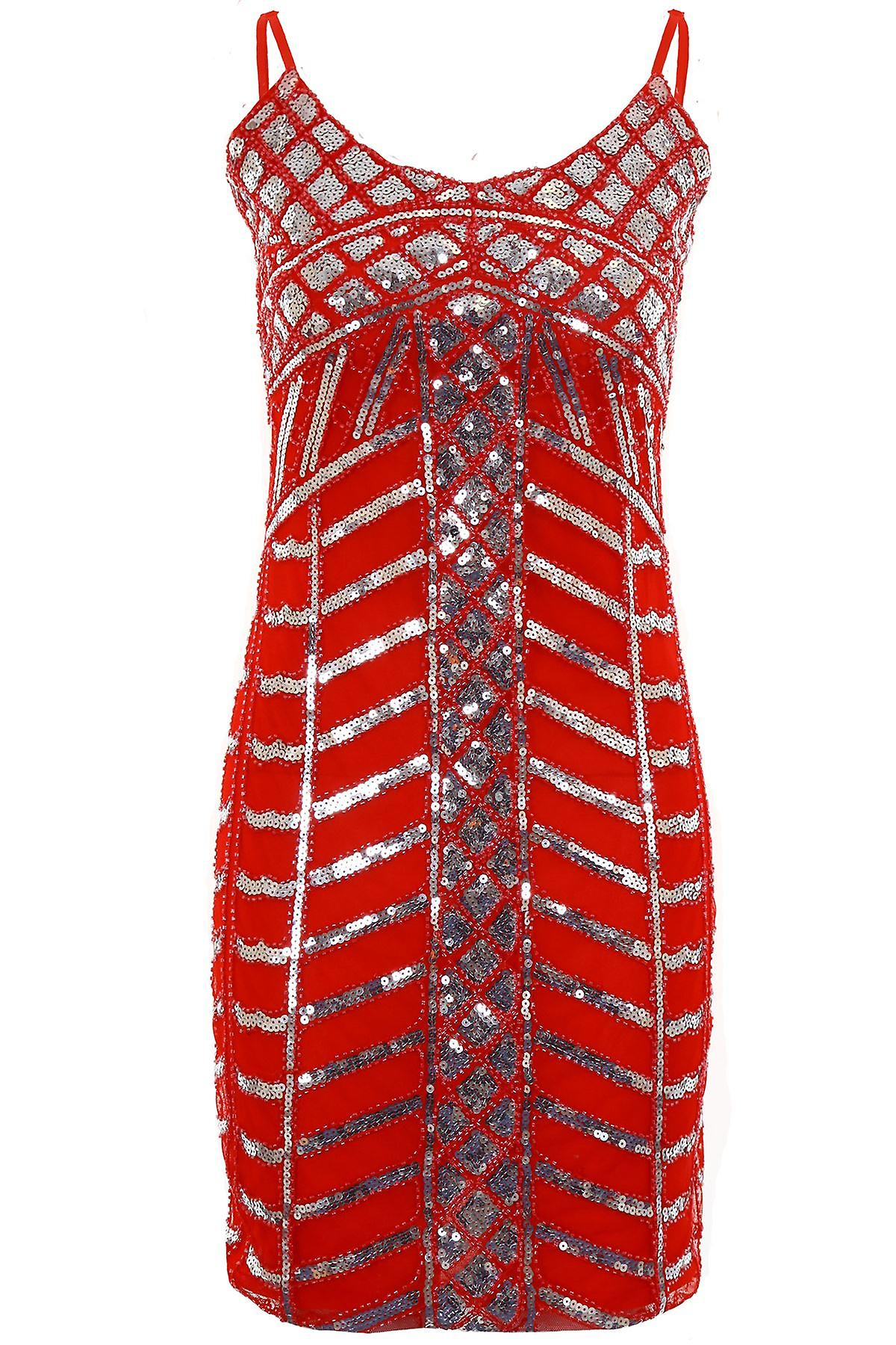 Ladies Adjustable Strap Cami Sequin Mesh Contrast Women's Lined Bodycon Dress