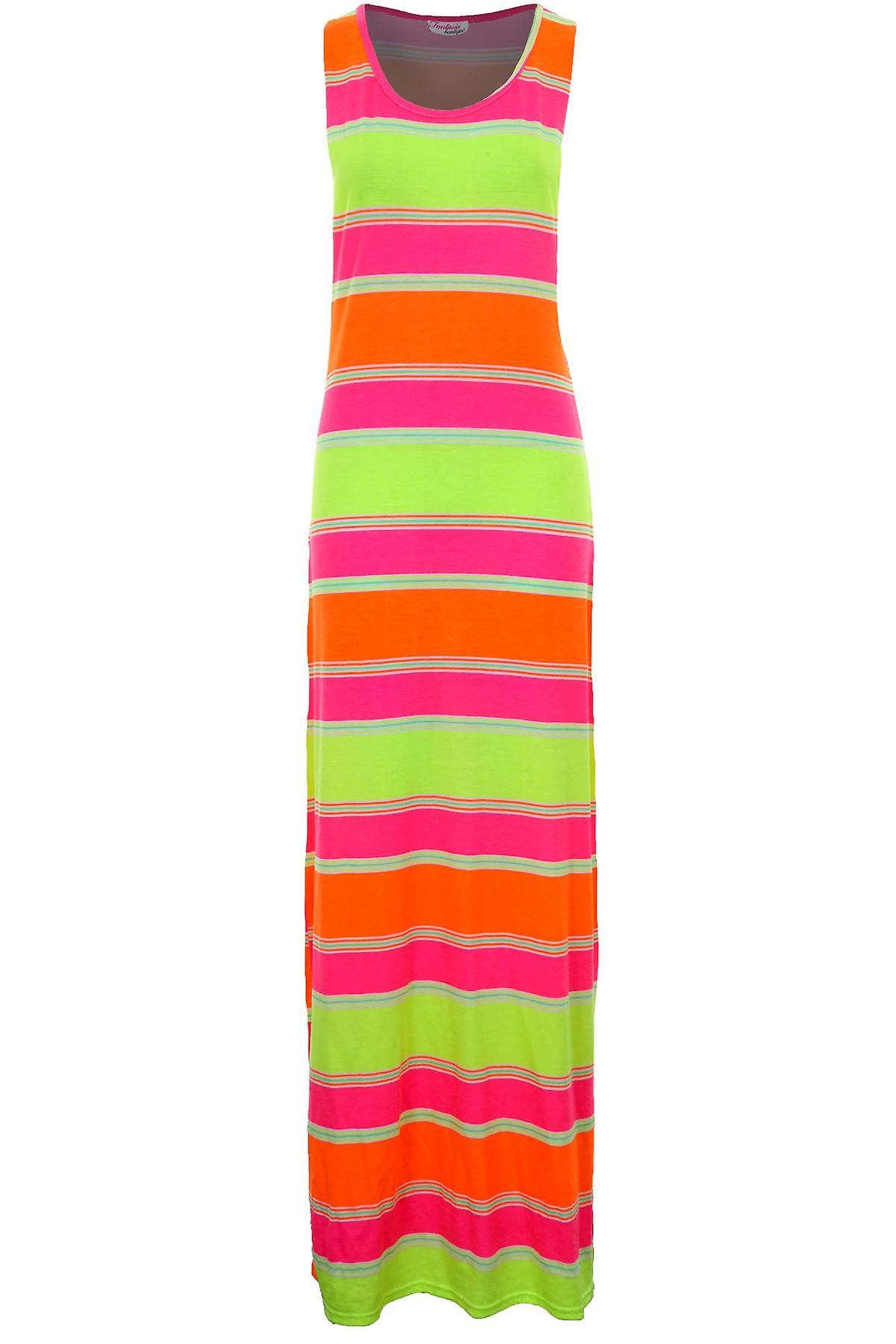 Ladies Sleeveless Neon Stripe Aztec Print Women's Long Maxi Summer Dress