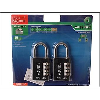 RECODEABLE BLACK COMBINATION PADLOCK 40MM (PACK OF 2)