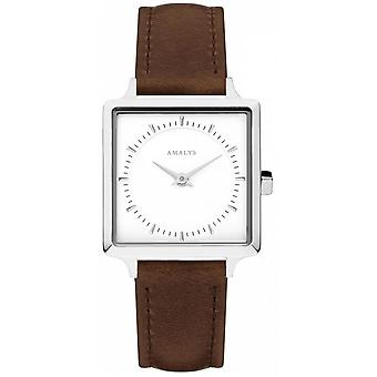 Amalys LILA - steel woman brown leather strap White Dial Watch