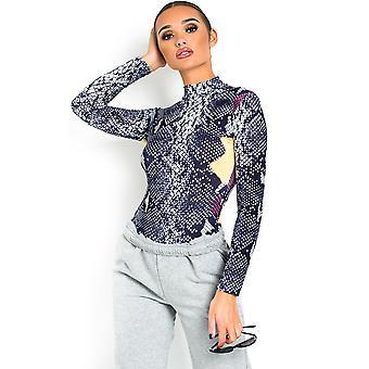 IKRUSH Womens Chloe Animal Print Bodysuit