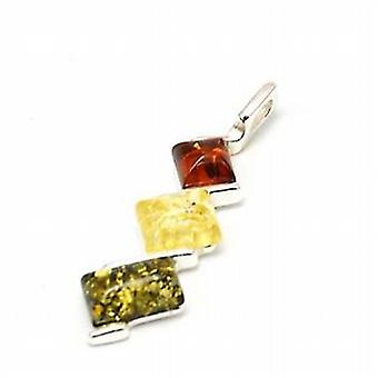 Toc Sterling Silver Tri Color Amber Pendant on 18 Inch Chain