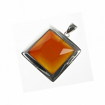 "Cavendish French Sterling Silver and Red Carnelian Square Pendant with 16 - 18"" Silver Chain"