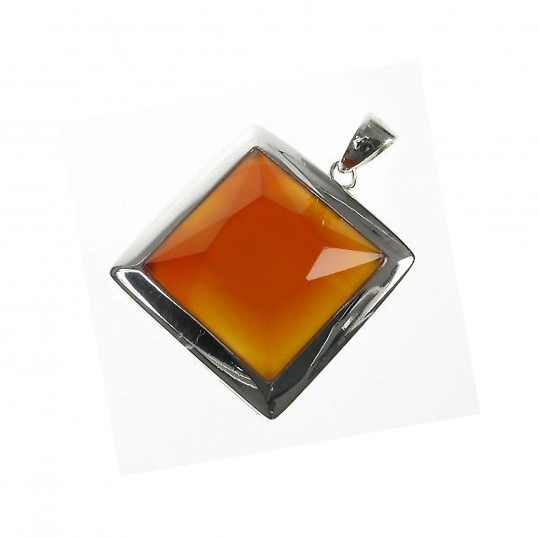 Cavendish French Sterling Silver and Red Carnelian Square Pendant