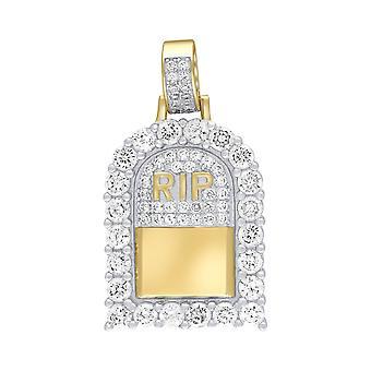 Premium Bling-925 Sterling Silver Mini Pendant R.I.P gold