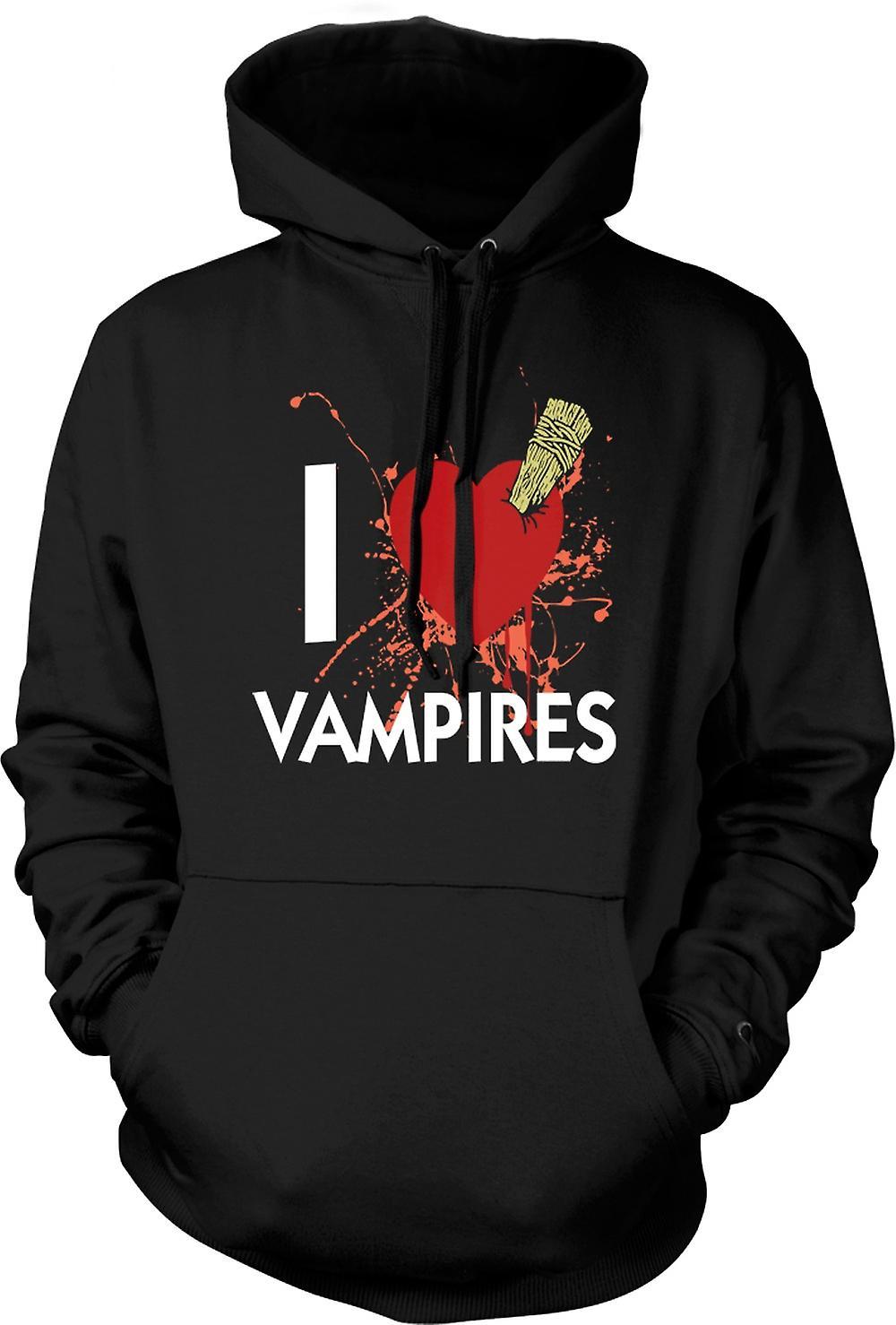 Mens Hoodie - I Love Vampires - Funny
