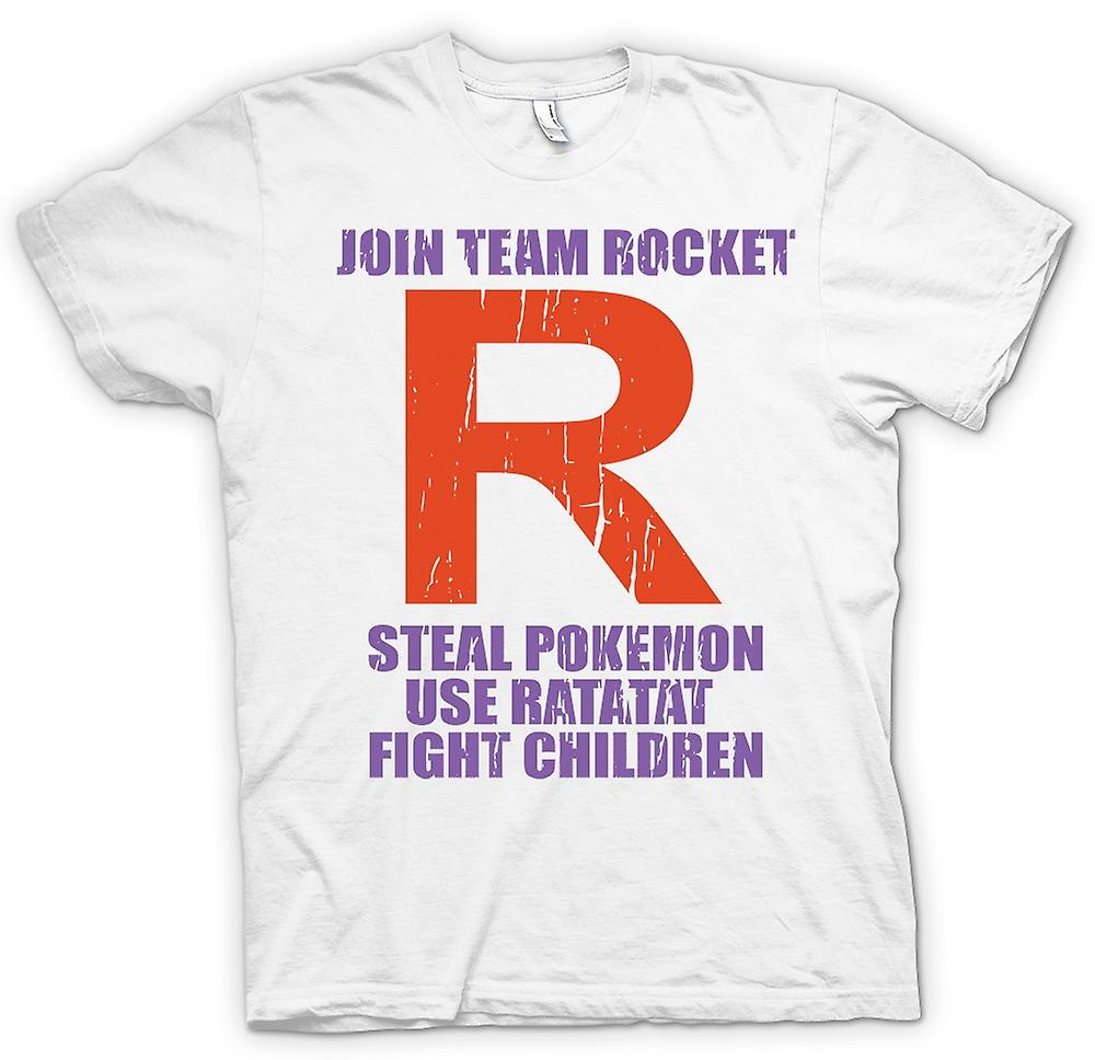 Womens T-shirt - Join Team Rocket - Steal Pokemon - Use Ratatat - Attack Children