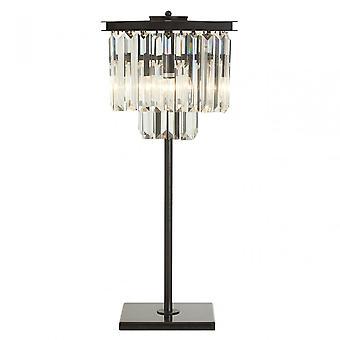 Premier Home Kensington Townhouse bordslampa, kristall, järn, svart